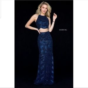 Sherri Hill 2 piece Navy 52063 sequin dress gown 8